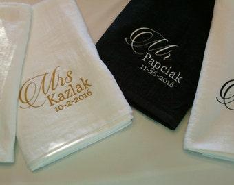 MR. & MRS. Personalized (Date) Beach Towel Gift SET ~ Wedding Anniversary Fiancee Husband Wife Gift  / Beach Wedding / Honeymoon - Customize