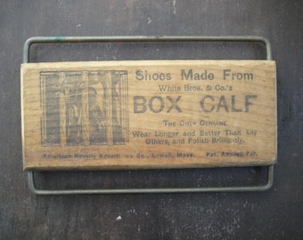 Antique White Bros. Box Calf Shoes Advertising Placard, A. B. Greenwood, Chapel Street, New Haven c. 1910