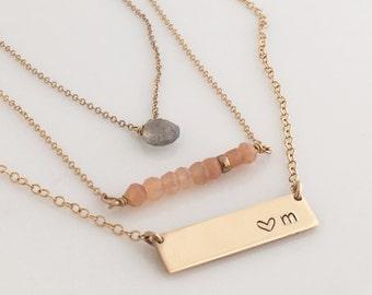 Short Nameplate Necklace/ Monogram Gold Bar Necklace/Name Plate Necklace/Monogram Necklace/Gold Name Bar/ Wedding Gift/ Bridesmaid Gift/N241