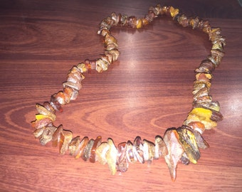 Rough unpolished Baltic Amber necklace