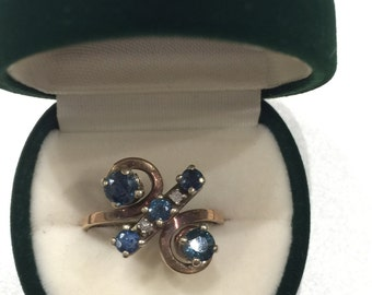 Sapphire and Diamond Retro ring in 9K yellow gold with valuation