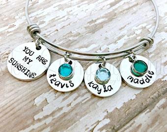 You Are My Sunshine | Sunshine Bracelet | Bracelet For Mom | Bangle Bracelet | Mothers Bracelet | Grandma Bracelet | Jewelry For Mom