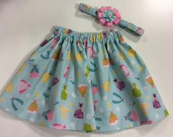 Pretty Girls Flared Skirt with Matching Hairband fully lined Age 2-3 yrs