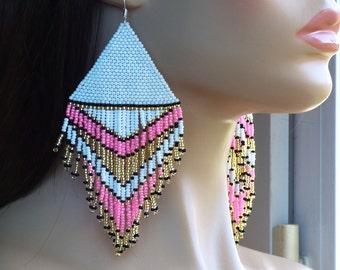 Pink Gold White Earrings. Very Large Earrings. Native American Beaded Earrings Inspired. Dangle Long Earrings. Beadwork