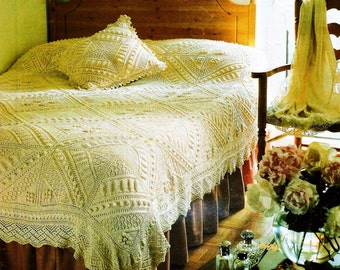 Instant Download PDF Vintage Row by Row Knitting Pattern to make A Beautiful Heirloom Bed Cover Bedspread Single Double with Cushion Pillow