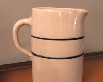 "Tall 9 1/4"" Beautiful Double Blue Stripe Hand Made Milk Pitcher"