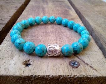 8 mm. Turquoise Stone Beads  with Buddha Tibetan Silver, Beadwork  Bracelet