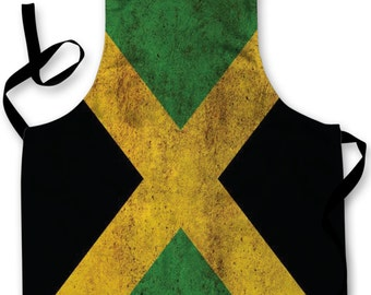 Jamaican Grunge flag Design Apron Kitchen bbq Cooking Painting Made In Yorkshire