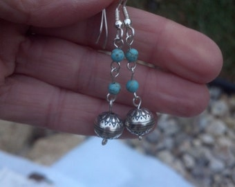 1023 Sterling and Turquoise Beaded Dangle