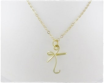 Initial K Wire Pendant Necklace