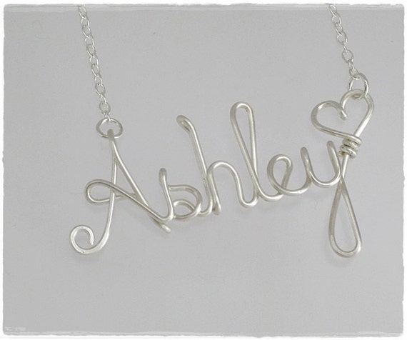 Ashley Wire Word Name Pendant Necklace Sale