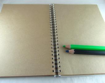 A5 notebook, kraft paper notepad, smash book, craft paper, stationary, traveler's notebook, sketchbook, upcycled planner, gift for him
