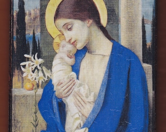 Virgin Mary,Marianne Strokes, La Madonna col Bambino(1905).FREE SHIPPING