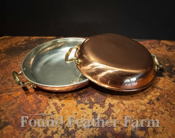 Pair of Vintage Portugese Copper Sauce Pans with Brass Handles