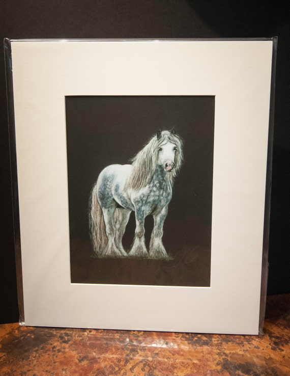 "Fine Art Giclee Print by Terry Kirkland Cook "" Dappled Grey Gypsy Vanner Horse"""