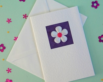 Birthday Card, girlfriend, for her, mum, friend, wife, sister, daughter, white satin flower on purple, modern, contemporary, cute