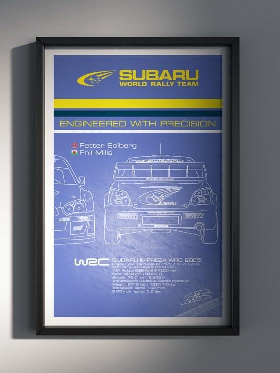 Subaru World Rally Team, Team Poster, WRC, World Rally Car, 2005 Petter Solberg Edition - Art Print Production