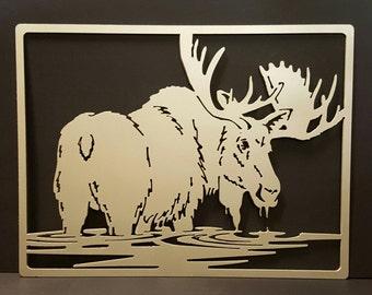 Moose in water (metal rustic decor)