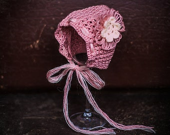 Crochet pink baby girl bonnet/Baby hat for Girls/Crochet baby hat with flower/Crochet baby wool hat/Baby hat/Pink girl hat/Baby Girl hat
