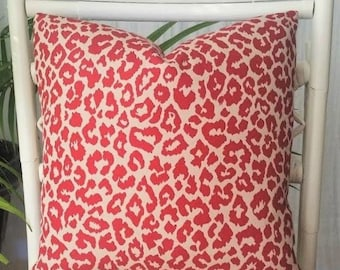Red Leopard Cheetah Animal Print Pillow Cover - Please read the listing for available sizes -- red, light taupe