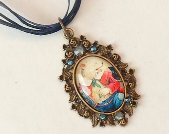 Steampunk jewelry Vintage necklace Victorian animal pendant vintage ribbon necklace whimsical animal jewelry circus bear Urban Disciple