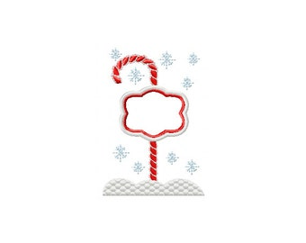Candy Cane North Pole, Christmas Embroidery Design, Candy Cane Embroidery Design, Christmas Applique Design, Snowflake Embroidery
