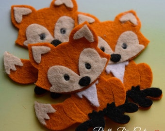 Felt Foxes, Pack of Red Foxes, Decorative Fox, Woodland Creatures, Felt Wild Animal, Felt Animal Shapes, Die Cut Animal Craft Embellishments