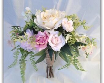 Pink bouquet set, whimsical, forest roses, bride bouquet. Wedding bouquet.