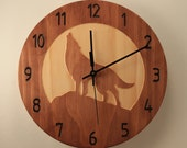 Pine wolf clock Wood clock Wall clock Nature clock Wooden wall clock Hunting decor Hunting gift Wolf decor Wildlife clock Howling wolf