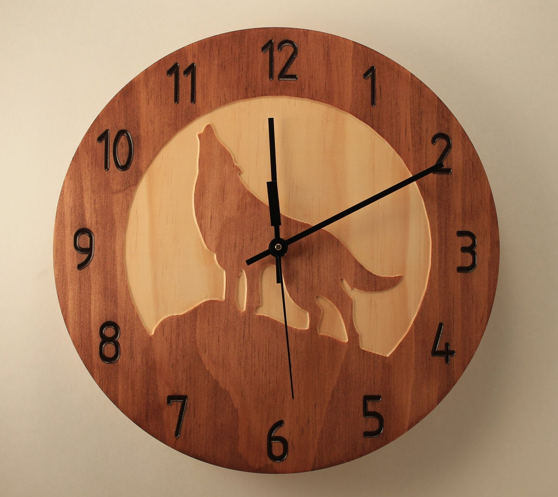 Pine wolf clock wood clock wall clock nature clock wooden wall zoom amipublicfo Image collections