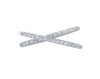 X Ring. Silver X Cross Ring. Criss Cross Ring. Crisscross Ring. Silver X Ring. CZ X Ring. Pave X Ring. Gold X Ring. Rose Gold X Ring.