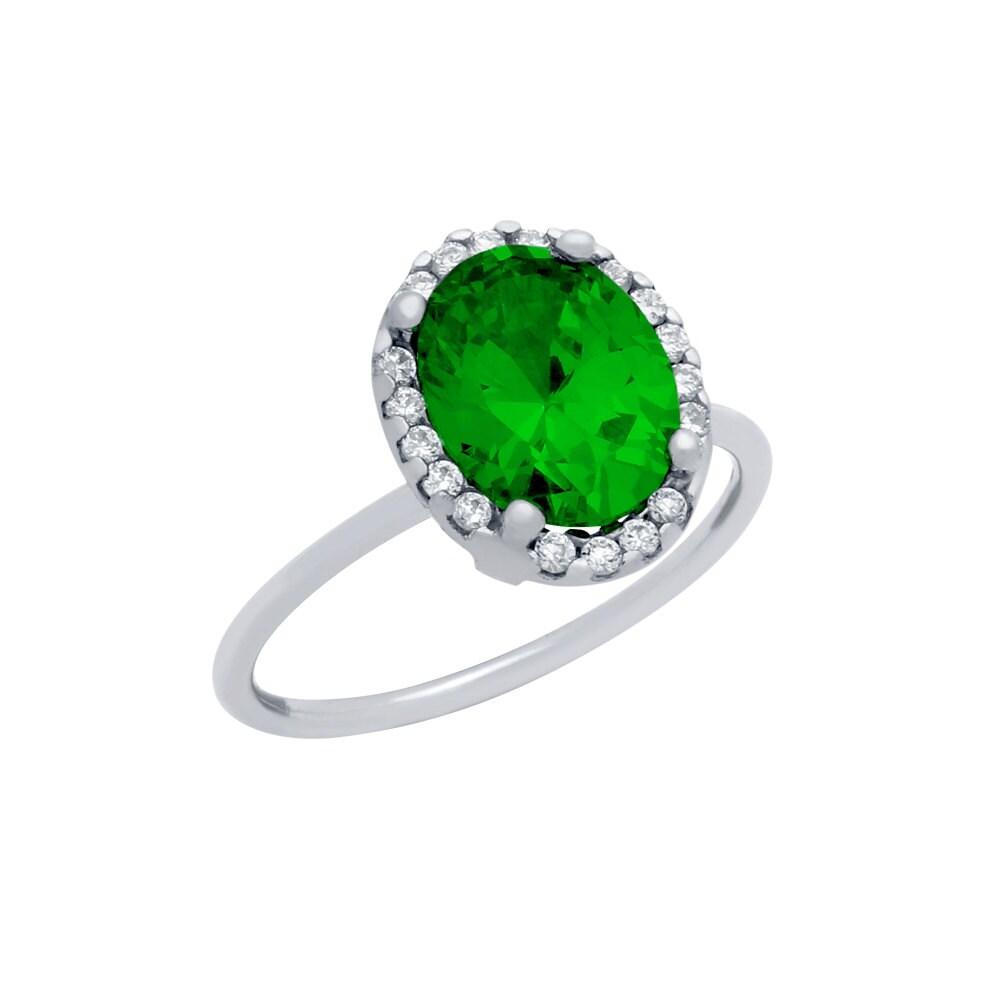 emerald ring green emerald ring cz green emerald sterling