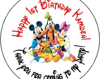 24 mickey mouse  clubhouse Theme Birthday Party Stickers 1.67 inch Round Personalized kids