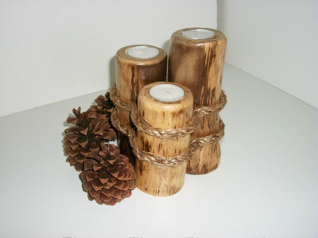 Log candle holder aspen alaskan tea light candleholder three for Log candle holder how to make