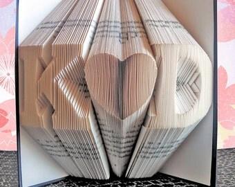 Folded Book Art, Anniversary Gift, 1st Wedding Anniversary, Personalized Gift Boyfriend Gift Girlfriend Gift Anniversary Wedding Decorations