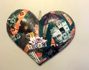 Collage heart, heart, heart wall hanging, multicolored heart