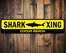 Shark X-ing Sign, Custom Shark Crossing Sign, Personalized Kid Name/Beach Location Sign, Metal Shark Decor - Quality Aluminum ENS1002103