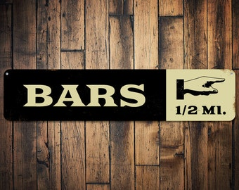 Bars Pointing Hand Mileage Sign, Personalized Destination Distance Sign, Custom Metal Location Mile Arrow Sign - Quality Aluminum ENS1001744