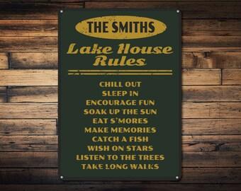 Lake House Rules Sign, Personalized Lake House Sign, Family Name Sign, Lake House Decor, Custom Lake Sign - Quality Aluminum ENS1001078