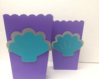 5 ct. Under the sea purple treat boxes for birthday parties, baby showers, first birthday.