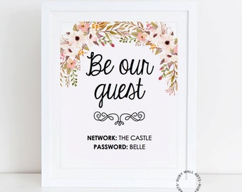 WIFI Password Sign, WIFI Password Printable, Editable, Wifi Sign, Be Our Guest, Welcome Guest, Guest Wifi, Guest Room, Instant Download, PDF