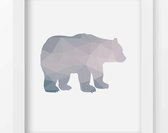 Geometric Bear Art Print, Color Block Wall Art, Modern Minimalist, Home Decor, Digital Art, Printable, Animals