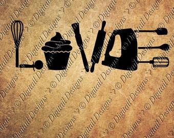 Love Baking SVG PNG DXF Eps Fcm Ai Cut File for Silhouette, Cricut, Scan n Cut Baking svg Baking Design Cupcake Svg