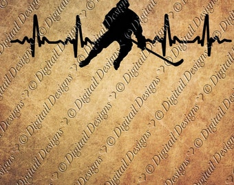 Hockey EKG Svg Png Dxf Eps Fcm Ai Cut file for Silhouette, Cricut, Scan n Cut Hockey player svg EKG