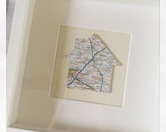 Personalised framed home map cut 23cm x 23cm