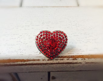Rhinestone Encrusted Red Heart