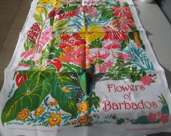 Flowers Of Barbados  Cotton Tea Towel Hand Screen Printed In Barbados  Caribbean Colorful  18 1/2 '' x  30  1/2 ''