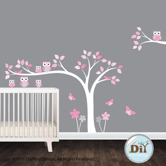 Pink white gray vinyl nursery tree wall by diyvinyldesign for Pink and grey nursery fabric