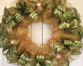 Extra Large Green and Gold Holiday Wreath; Christmas Wreath; Christmas Decor; Fireplace Wreath; Handmade Wreath; Mesh Christmas Wreath