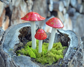 Red Ceramic Mushroom. Clay Mushroom, Firecracker, Garden Decor Ornament, Shroomyz,  Outdoor Decoration.